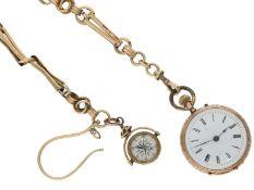 Taschenuhr: goldene Damenuhr, um 1900, und seltene goldene Uhrenkette mit goldenem Kompass, ca.1900
