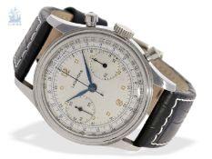 Armbanduhr: übergroßer Edelstahl-Chronograph, signiert Leonidas, 50er-Jahre, Kaliber Valjoux 22