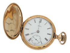 Taschenuhr: schwere, amerikanische goldfilled Savonnette-Herrenuhr, um 1882, Walthem