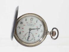Taschenuhr: attraktive silberne Jugendstil-Savonnette mit Tula Dekoration, Chronometre Myr La Chaux