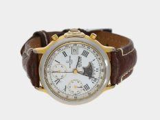 Armbanduhr: Herrenarmbanduhr mit Chronograph und Mondphase, Michel Herbelin 'Reporter', 90er Jahre