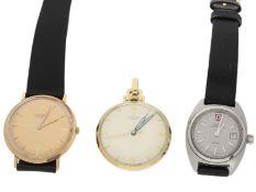 Armbanduhren: Konvolut von 2 vintage Armbanduhren sowie einer Anhängeuhr, Stahl/14K/18KGold