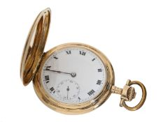Taschenuhr: dekorative Goldsavonnette mit Präzisionsankerwerk in Glashütter Stil, Janus Schweiz um 1