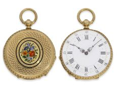 """Taschenuhr/Anhängeuhr: wunderschöne """"Louis XV"""" Gold/Emaille-Damenuhr mit feiner Lupenmalerei,"""
