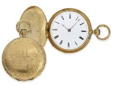 Taschenuhr: frühe, interessante Goldsavonnette mit aufwändig verziertem Gehäuse, vermutlich Genf