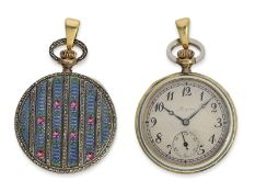 Taschenuhr/Anhängeuhr: sehr seltene Gold/Emaille-Damenuhr mit Diamantbesatz, Gold & Platin, Longines