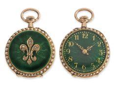 Anhängeuhr/Taschenuhr: hochfeine Gold/Emaille-Damenuhr mit Perlenbesatz und Diamantbesatz, ca. 1900,