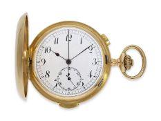 Taschenuhr: schwere rotgoldene Savonnette mit Repetition und Chronograph, 18K Gold, signiert