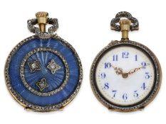 Taschenuhr/Anhängeuhr: hochfeine Gold/Emaille-Damenuhr mit Diamantbesatz, signiert Le Coultre, ca.