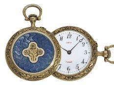 Taschenuhr/Anhängeuhr: ungewöhnliche Art Nouveau Gold/Emaille-Damenuhr hochfeiner Qualität, Leroy