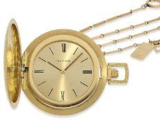 Taschenuhr: extra flache Frackuhr mit seltener Uhrenkette von Tiffany, vermutlich 60er-Jahre, Ca.