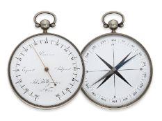 Taschenthermometer: bedeutendes, museales, frühes doppelseitiges Taschenthermometer mit Kompass,