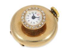 Taschenuhr/Knopflochuhr: Rarität, 18K Knopflochuhr mit Diamantbesatz, ca. 1890, extrem selten in