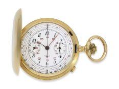 Taschenuhr: feine Goldsavonnette mit Chronograph, Frankreich ca. 1910, Ca. Ø51mm, ca. 99g, 18K Gold,
