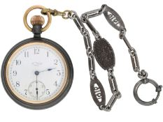Taschenuhr: amerikanische Waterbury Taschenuhr mit eiserner Uhrenkette, ca. 1915: Ca. Ø53mm, ca.