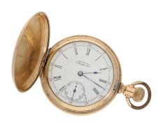 Taschenuhr: schwere amerikanische Savonnette mit sehr feinem Werk, Waltham Riverside, ca.1900: Ca.