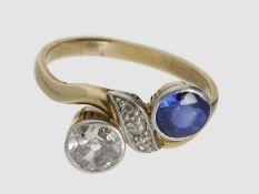 Ring: dekorativer antiker Goldring mit Altschliff-Diamant und Saphir, ca. 1,12ct, 14K Gold, feiner