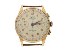 Armbanduhr: großer Chronograph, 18K Gold, Marke Javil, ca.1950: Ca. Ø36mm, Ref. 1750, 18K Gold,