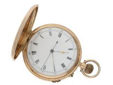 Taschenuhr: interessante und ungewöhnliche Rotgoldsavonnette mit Centre-Second Chronograph,