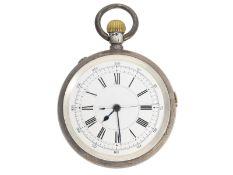 Taschenuhr: feine silberne englische Taschenuhr mit Zentralsekunde, ca. 1925: Ca. Ø54mm, ca. 129g,