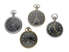 Taschenuhr: Konvolut von 4 militärischen Taschenuhren mit schwarzen Zifferblättern, dabei ein