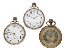 Taschenuhr: Konvolut von 3 übergroßen Taschenuhren/Beobachtungsuhren, um 1900, dabei eine Rarität: