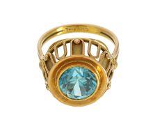 Ring: äußerst massiver vintage Edelzirkonring mit aufwändigem Dekor, 14K Gelbgold: Ca. Ø17,5mm,