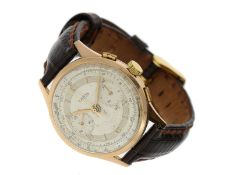 Armbanduhr: rotgoldener vintage Chronograph Marke Unitas, Unitas SA, Manufacture d'Horlogerie A.