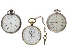 Taschenuhr: Konvolut von 3 großen englischen Chronographen, 19.Jh.: 1. ca. Ø58mm, ca. 171g,