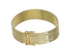 Armband: vintage Goldschmiedearmband: Ca. 17cm lang, ca. 27,5g, 14K Gelbgold, ca. 14mm breit,
