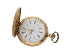 Taschenuhr: prächtige Jugendstil-Damensavonnette, Gold, ca. 1900: Ca. Ø30mm, ca. 20g, 14K