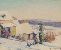 Gustave Cariot1872 Paris - 1950 Mandres - Haus in Winterlandschaft - Öl/Lwd. 33,5 x 41 cm. S