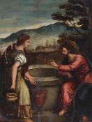 Künstler des frühen 18. Jahrhunderts- Jesus und die Samariterin - Öl/Kupfer. 24 x 18,5 cm.