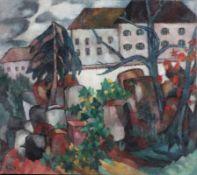Künstler des Expressionismus- Blick auf Friedhof - Öl/Lwd. 57,5 x 60 cm. Monogr. und dat. l