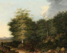 Felix Bockhorni1801 Wolfratshausen - 1878 Wolfratshausen - Bewaldete Landschaft mit einem Hir