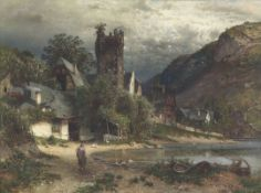 Paul Koken1853 Hannover - 1910 Hannover - Idyllische Dorfszene am See - Öl/Lwd. 95 x 139 cm.
