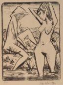"""Otto Mueller1874 Liebau in Schlesien - 1930 Breslau - """"Im Wasser stehendes und am Ufer sitzen"""