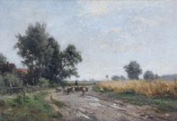 Philipp Röth1841 Darmstadt - 1921 München - Landschaft mit Schafherde - Öl/Lwd. 26 x 37,5