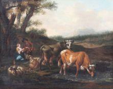 Johann van Gool1685 Den Haag - 1763 Den Haag - Schäfer bei der Rast - Öl/Lwd. Doubl. 37,5 x