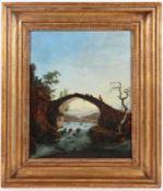 Künstler des 19. Jahrhunderts- Romantische Flusslandschaft mit Brücke - Öl/Holz. 40 x 32 c