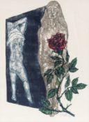 Ernst Wolfhagen 1907 Hannover - 1992 Hannover - Zwei Frauen und Rose - Farbholzschnitt/Papier
