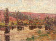 Robert Stratmann 1877 Hannover - 1950 Münster - Sommerliche Heidelandschaft mit Fluss - Öl/