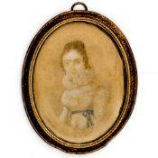 Miniaturbildnis einer Dame Ende 19. Jahrhundert. Gouache/Karton. 8,5 x 6,4 cm (hochoval). Unt
