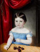 Bildnismaler des Biedermeier - Mädchen in blauem Kleid mit Kirschen - Öl/Lwd. 42 x 32,5 cm.