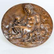 Claude Michel 1738 Nancy - 1814 Paris in der Art des - Weiblicher Satyr mit Kind - Bronzemeda
