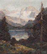 """Otto Pippel 1878 Lodz - 1960 Planegg - """"Blick auf den Dachstein mit Gosausee"""" - Öl/Lwd. 80 x"""