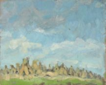 Minna Köhler-Roeber 1883 Reichenbach - 1957 Friesen - Felderlandschaft mit Kornhocken - Öl/