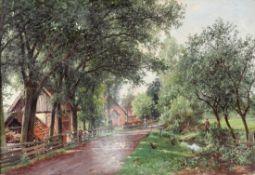 Gustav Koken Hannover 1850 - Hannover 1910 - Dorfweg im Sommer - Öl/Lwd. 50,5 x 73,5 cm. Sig