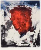 """Fred Thieler 1916 Königsberg - 1999 Berlin - """"W82"""" (abstrakte Komposition mit rotem Zentrum)"""