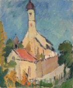 Minna Köhler-Roeber 1883 Reichenbach - 1957 Friesen - Dorfkirche im Sommer - Öl/Karton auf